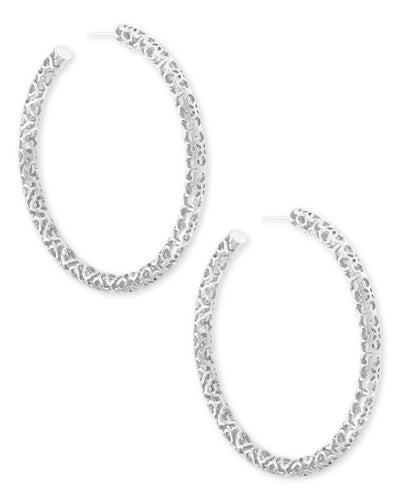 Maggie Hoop Earrings In Silver Filigree