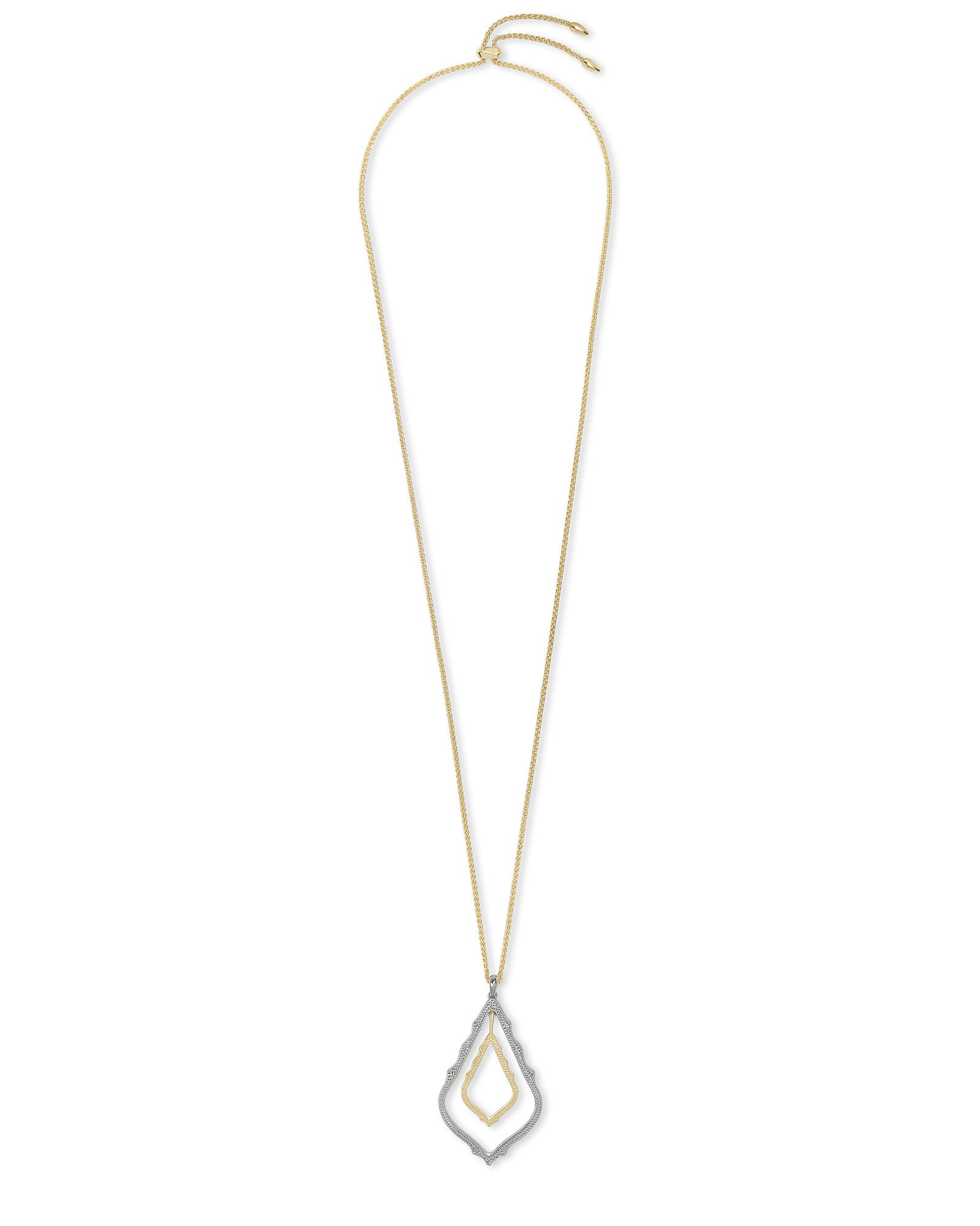 Simon Long Necklace in Rhodium Gold Mix