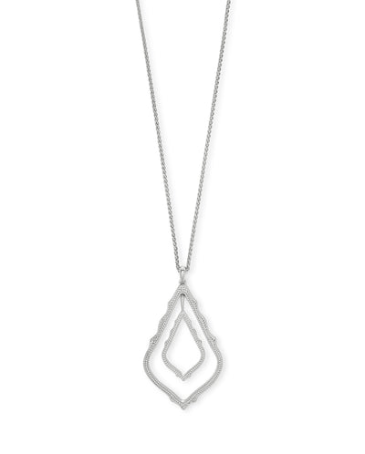 Simon Long Necklace in Rhodium Metal