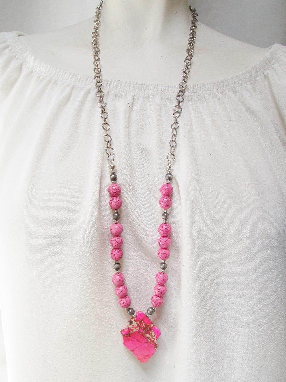Pink Slab Necklace