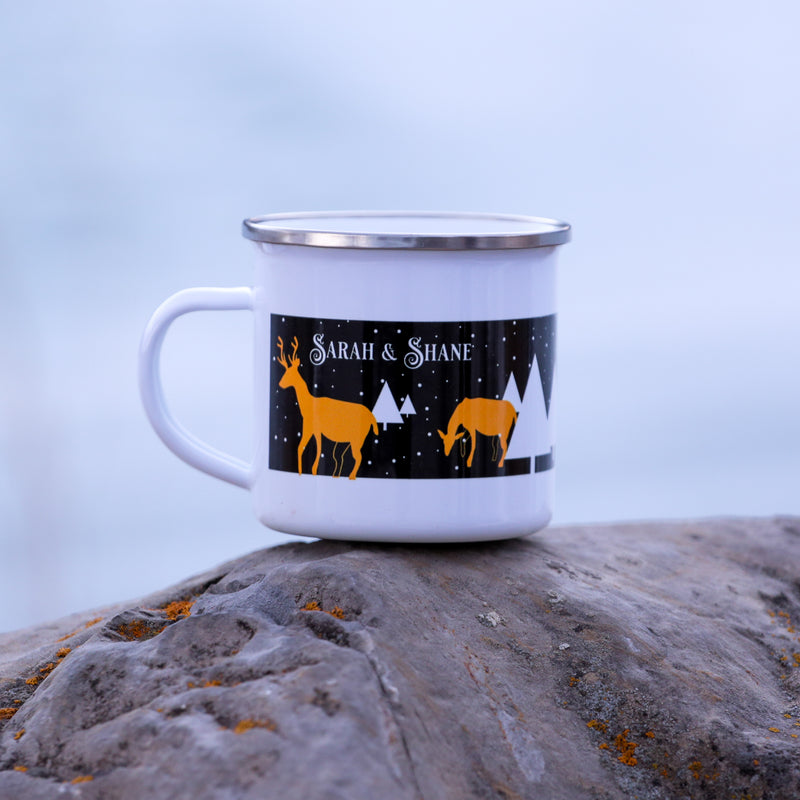 Personalized Reindeer Christmas Coffee Mug - Night Background
