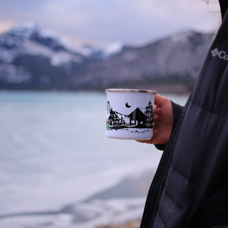 Custom Text Enamel Camping Mug -  Lake & Canoe Design