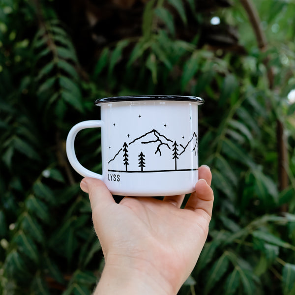 Personalized Name Enamel Camping Mug - Hammock Design