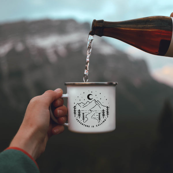 Adventure Is Calling Enamel Camp Mug - Personalized Camp Mugs - ODYSEA Store USA