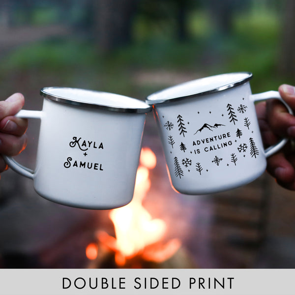 Adventure Is Calling Camping Mug - Winter Snowflakes