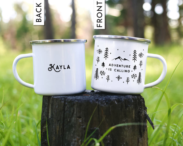 Adventure Is Calling Winter Coffee Mug - Snowflakes Design
