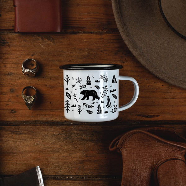 Personalized Name Woodland Forest Bear Camping Mug