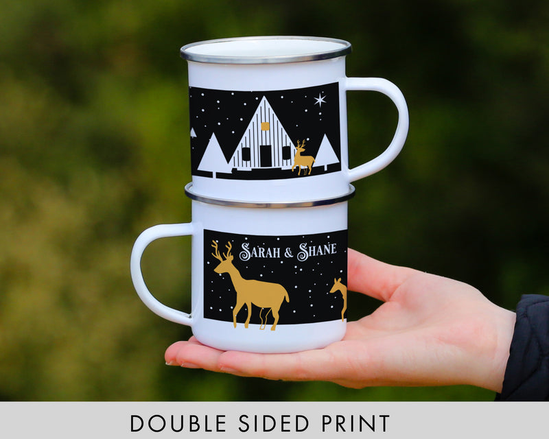 Personalized Deer Christmas Campfire Mug - Cabin