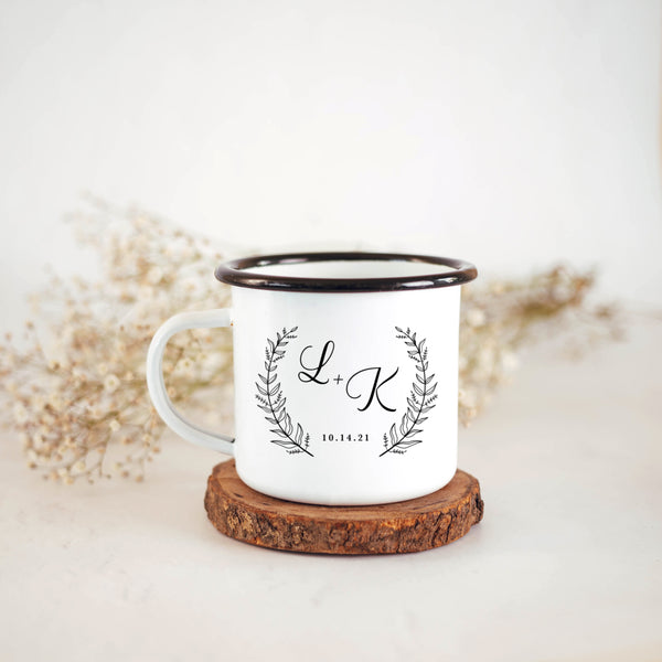 Personalised Wedding Mugs- Floral Wreath