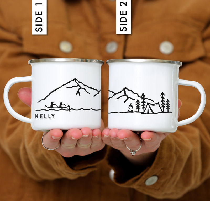 Front and back view of canoe camping mug
