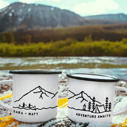 Personalized Name Camping Mug - Canoe Design