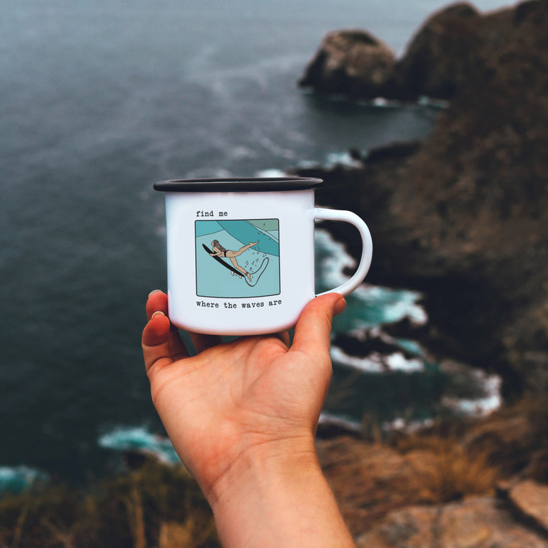 Find Me Where The Waves Are - Surfer Girl Mug
