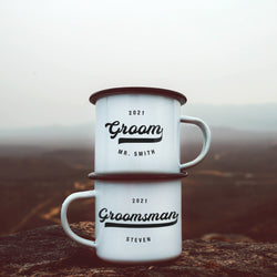 Groomsman Best Man Enamel Mugs