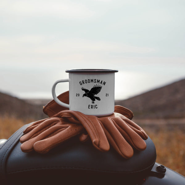 Groomsmen Best Man Enamel Mug - Eagle Badge