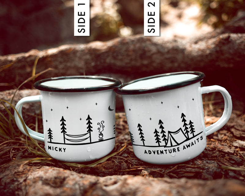 Unique Elopement Gift Camp Mug - Hammock Tent (No Mountains)