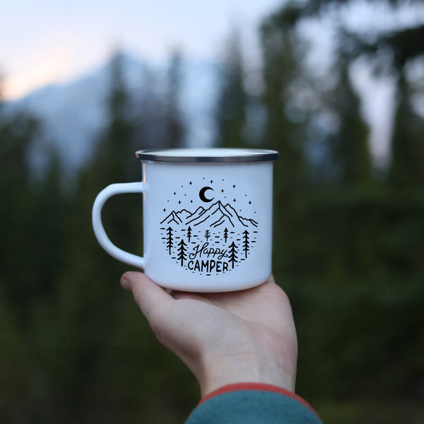 Front view of happy camper mug