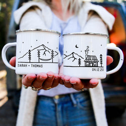 Custom Text Enamel Camping Mug - Cabin Design