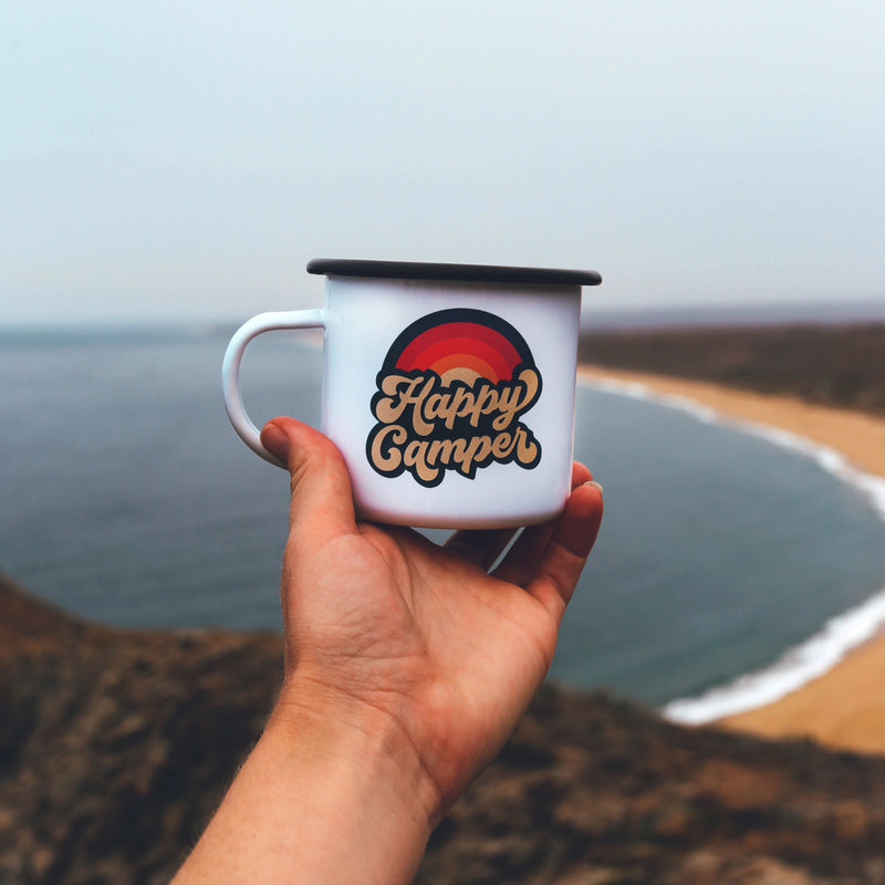 Retro Happy Camper Enamel Coffee Mug