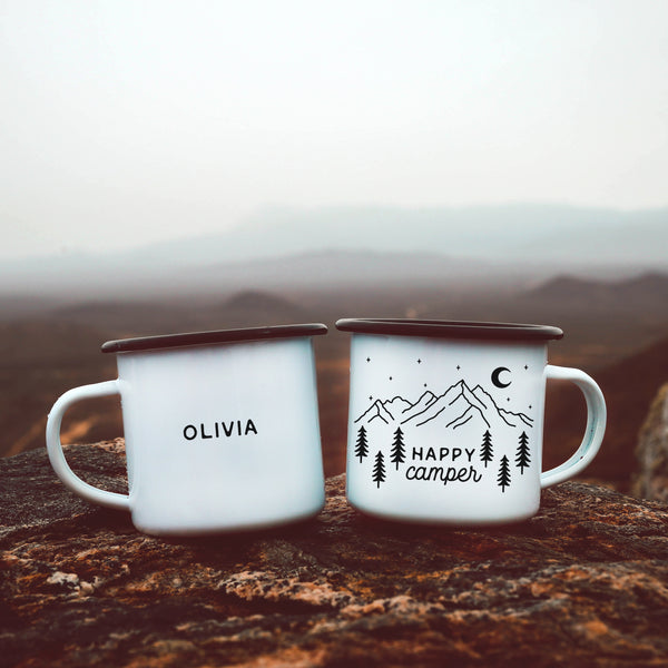 Happy Camper Enamel Camp Mug