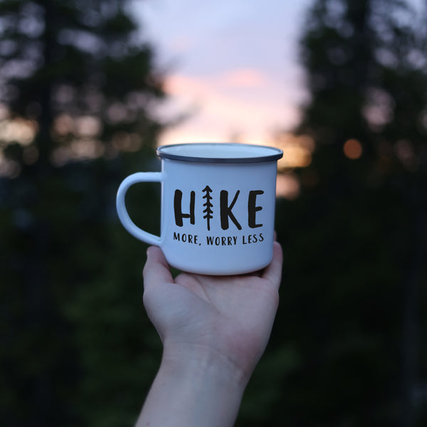 Hike More Enamel Worry Less Camp Mug - Personalized Camp Mugs - ODYSEA Store USA