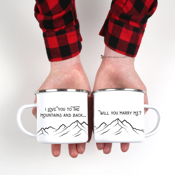 Will You Marry Me Engagement Camping Mug- ONE Mug - Personalized Camp Mugs - ODYSEA Store USA
