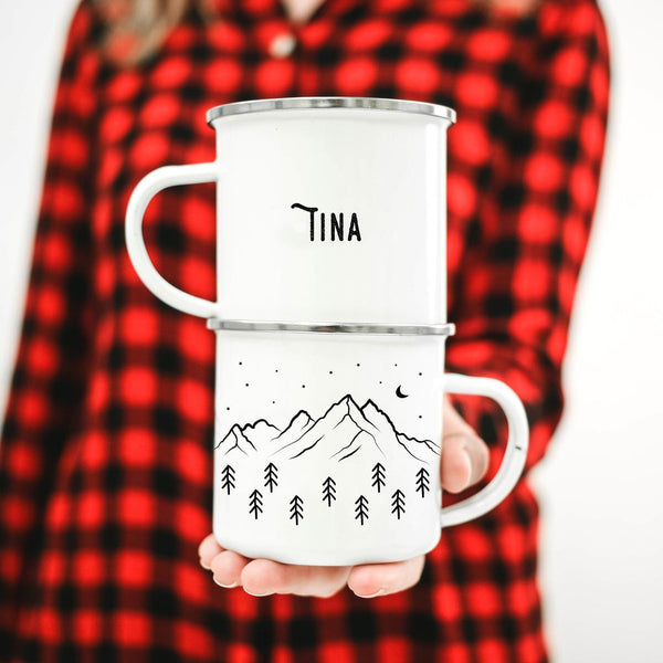 Front and back view of personalized name mountain mug
