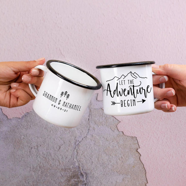 Let The Adventure Begin Wedding Favor Mugs