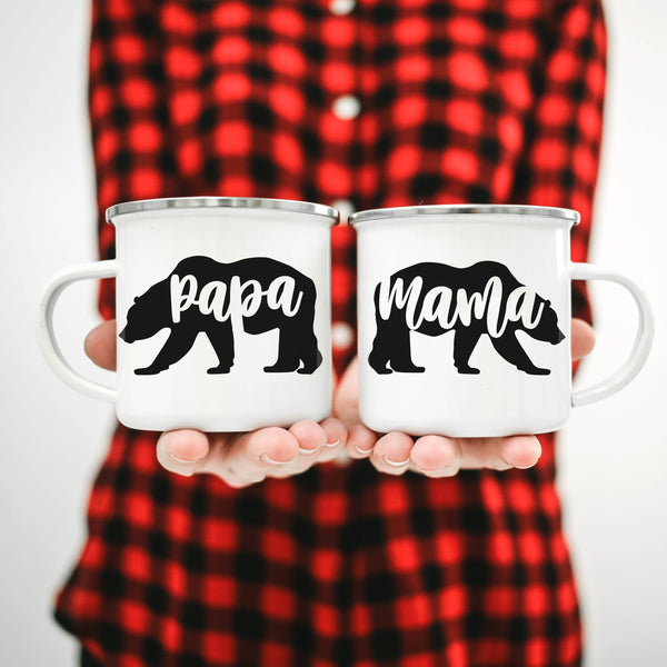 Mama Bear Papa Bear Baby Bear Camping Mugs - Personalized Camp Mugs - ODYSEA Store USA