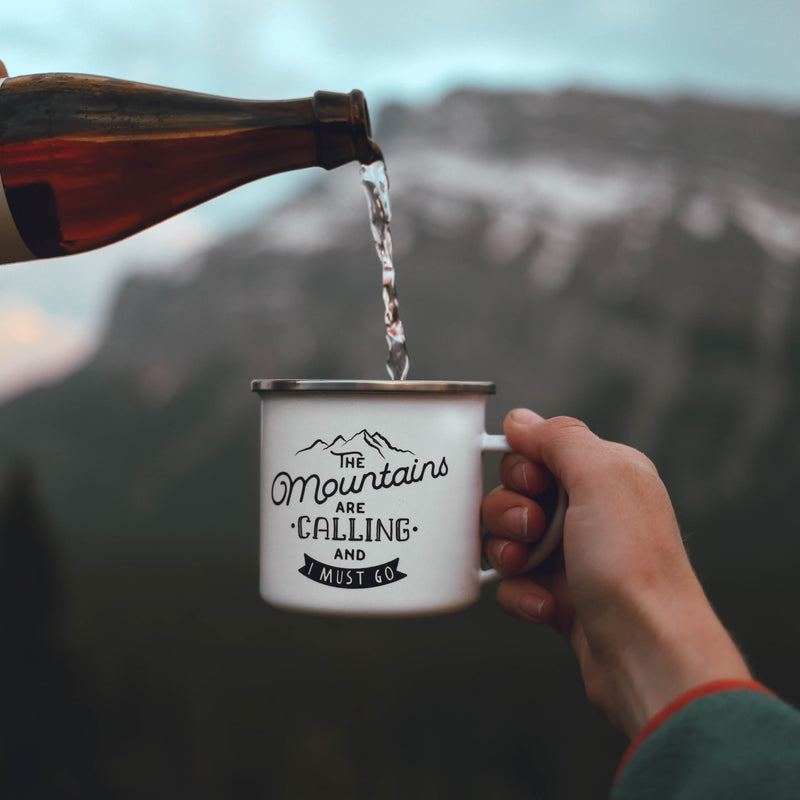 Mountains Calling Enamel Camp Mug - Personalized Camp Mugs - ODYSEA Store USA