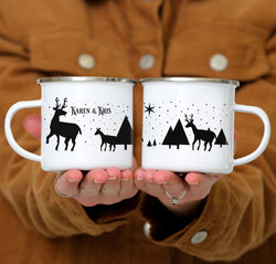 ODYSEA Personalized Reindeer Christmas Coffee Mug - Day Background