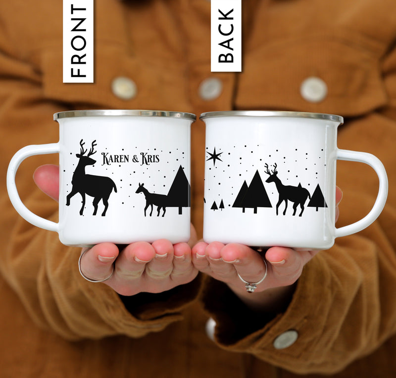 Personalized Reindeer Christmas Coffee Mug - Day Background