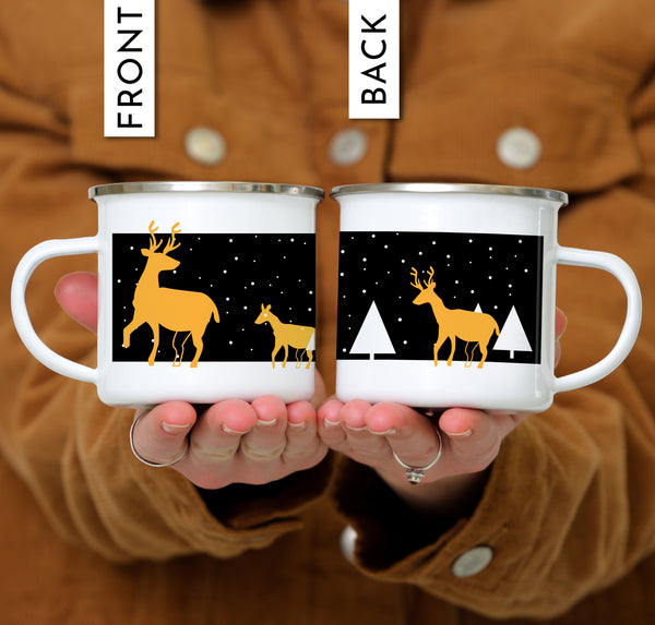 ODYSEA Personalized Reindeer Christmas Mug - Night Background