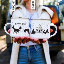 Personalized Reindeer Christmas Coffee Mug - Cabin Design
