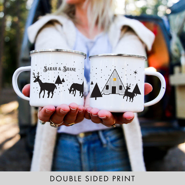 ODYSEA Personalized Reindeer Cabin Christmas Coffee Mug