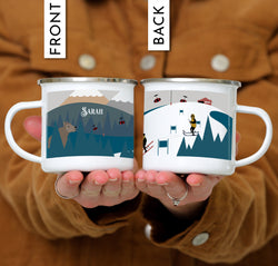 Personalized Text Ski & Snowboarding Design Camping Mug