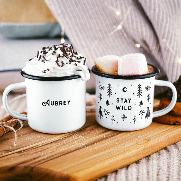 Stay Wild Campfire Mug- Winter Snowflakes