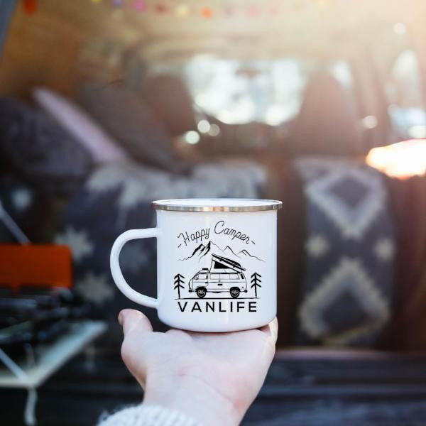 Happy Camper Vanlife Camp Mug - Personalized Camp Mugs - ODYSEA Store USA