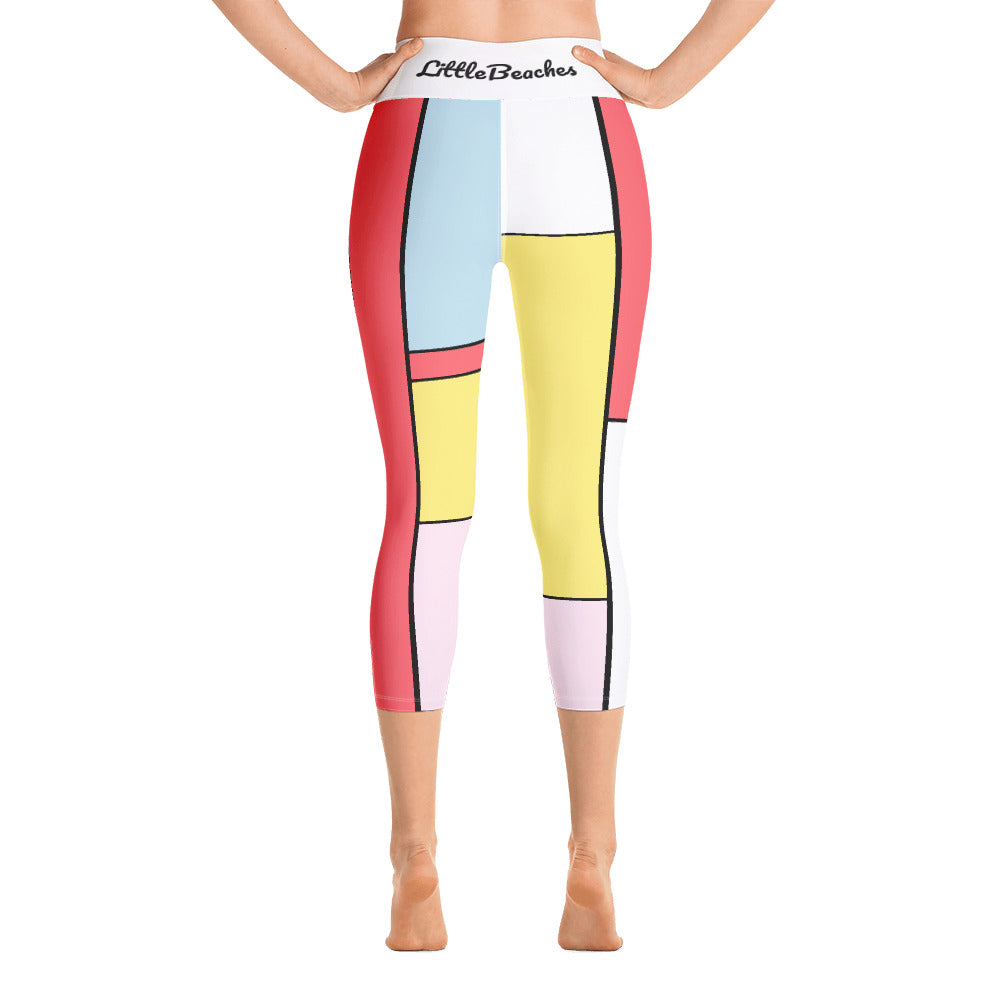 Pastel Patchwork Capri Length Yoga Leggings for  LittleBeaches