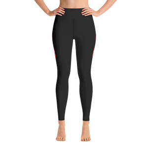 Yoga Leggings Black with Red Poppies The Most Comfort you can find - Little Beaches