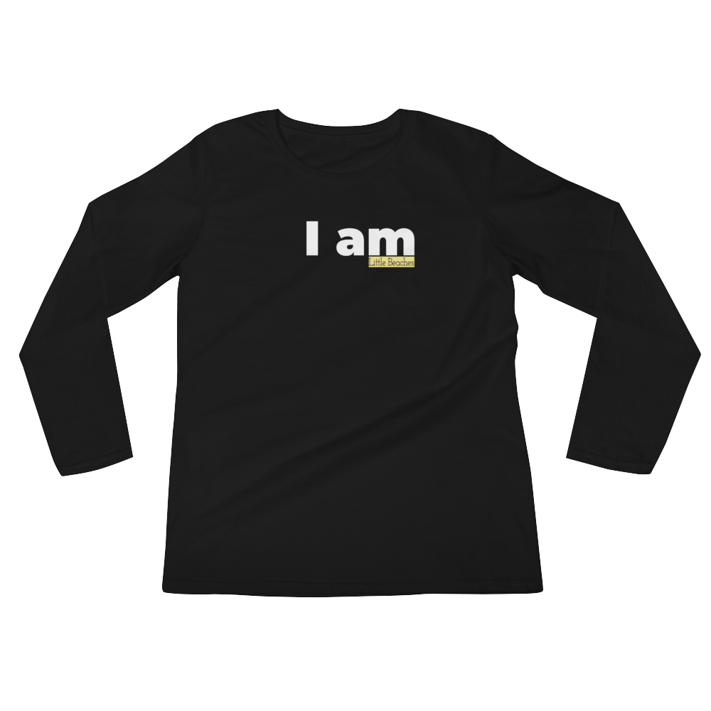 I am ladies long sleeved combed cotton black with white lettering - Little Beaches
