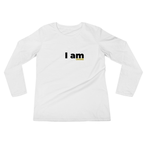 I am ladies long sleeve combed cotton t-shirt Black on White - Little Beaches