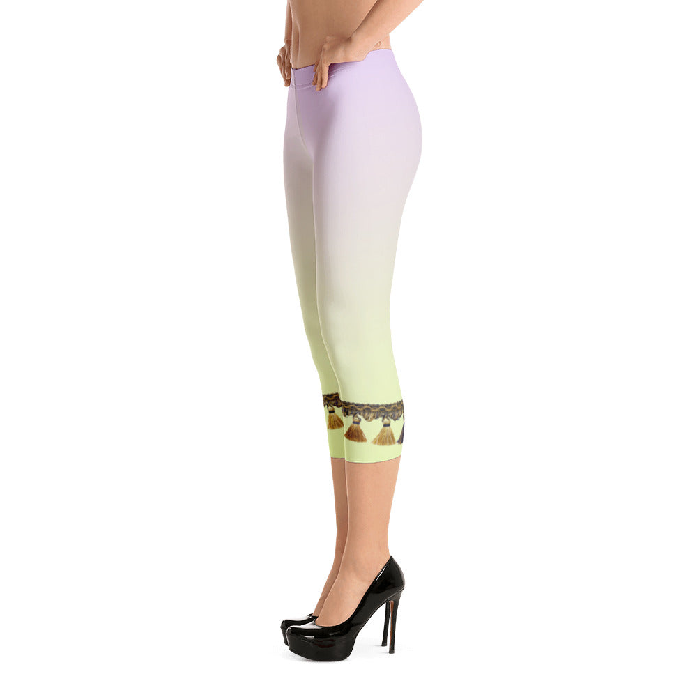 Sherbet with Tassels Capri Length Leggings - Little Beaches