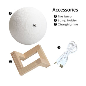 3D Print LED USB Moon Touch Lamp