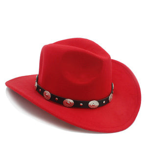 Retro 100% Wool Winter Western Cowboy Hat For Children Kids Wide Brim Cowgirl Jazz Cap With Leather Toca Sombrero Cloche Cap 20
