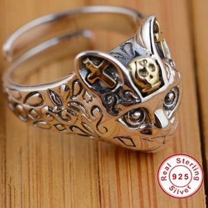 925 Sterling Silver Retro Cat Finger Ring