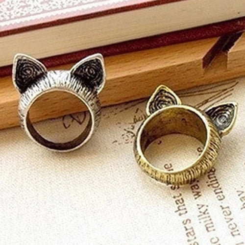 Cat ears fashion ring