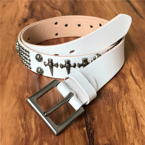 Genuine Leather Vintage Metal Skull Punk Belt