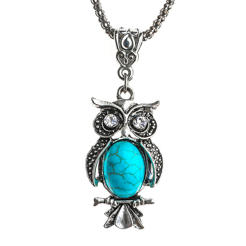 Vintage Necklace  Owl Necklace Natural stone