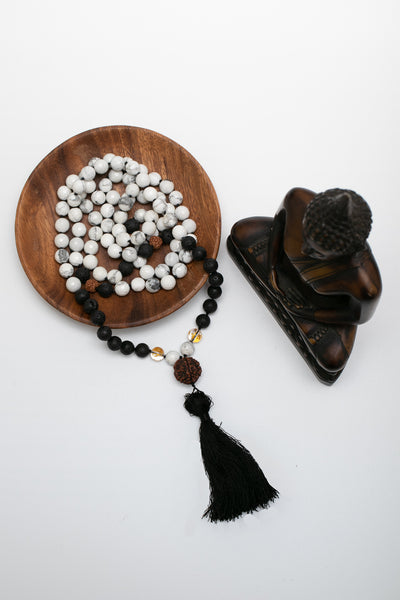 """Pure Bliss"" Howlite and Lava stone Mala"