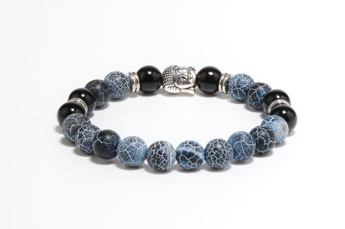 Fire Agate and Black Onyx Buddha / Mantra Bead Women Bracelet